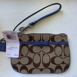 NWT Coach Khaki/Blue Wristlet Purse
